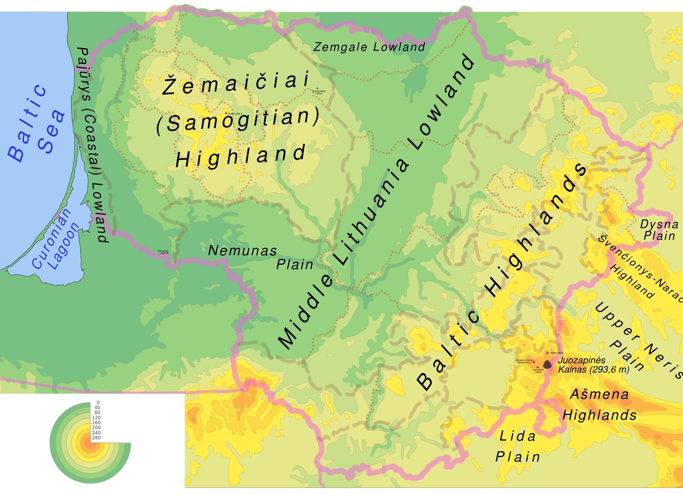 Liettua Fyysinen Kartta Kartta Liettuan Fyysinen Pohjois