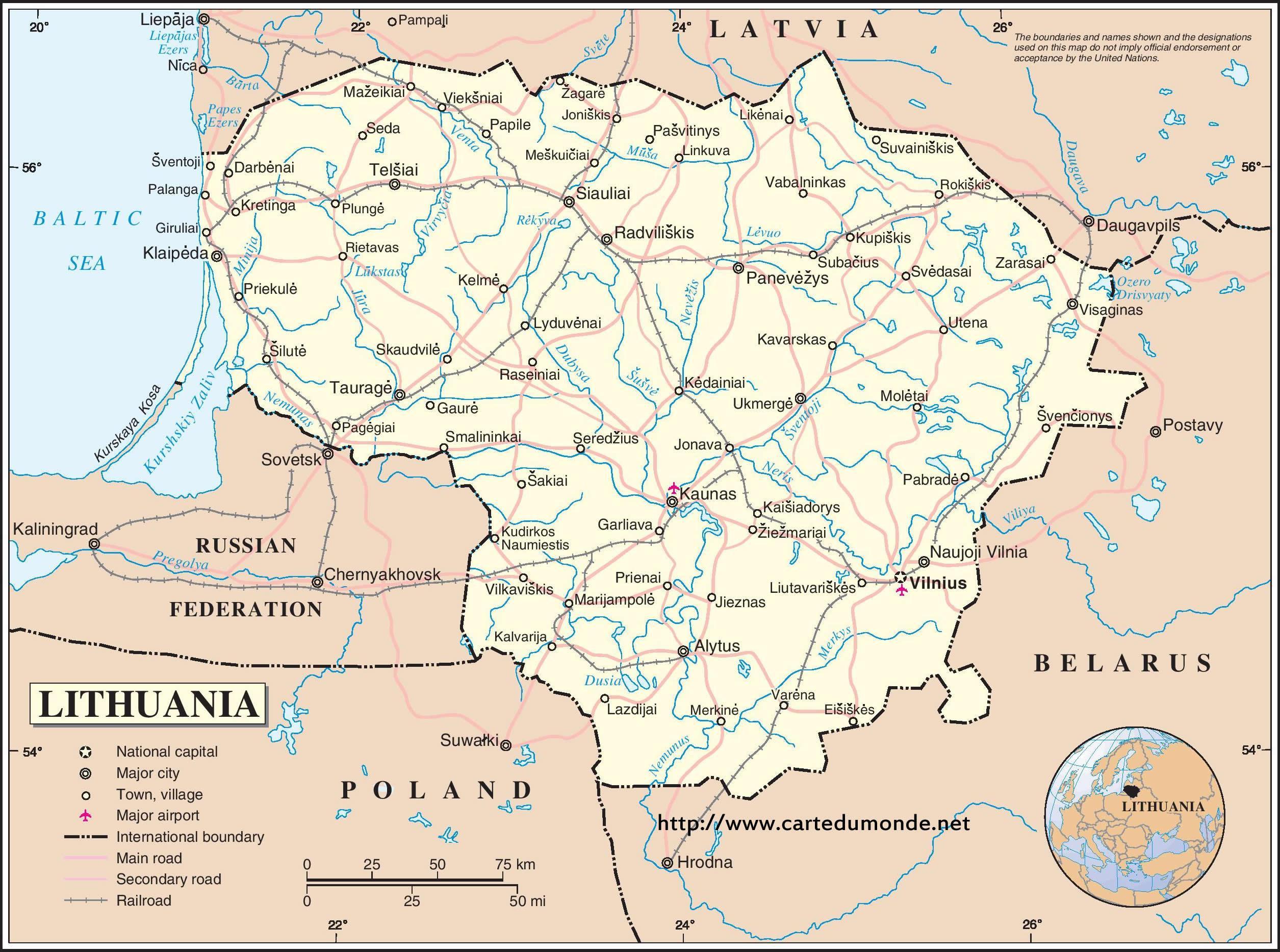 Liettuan Maa Kartta Kartta Liettuan Maa Pohjois Eurooppa