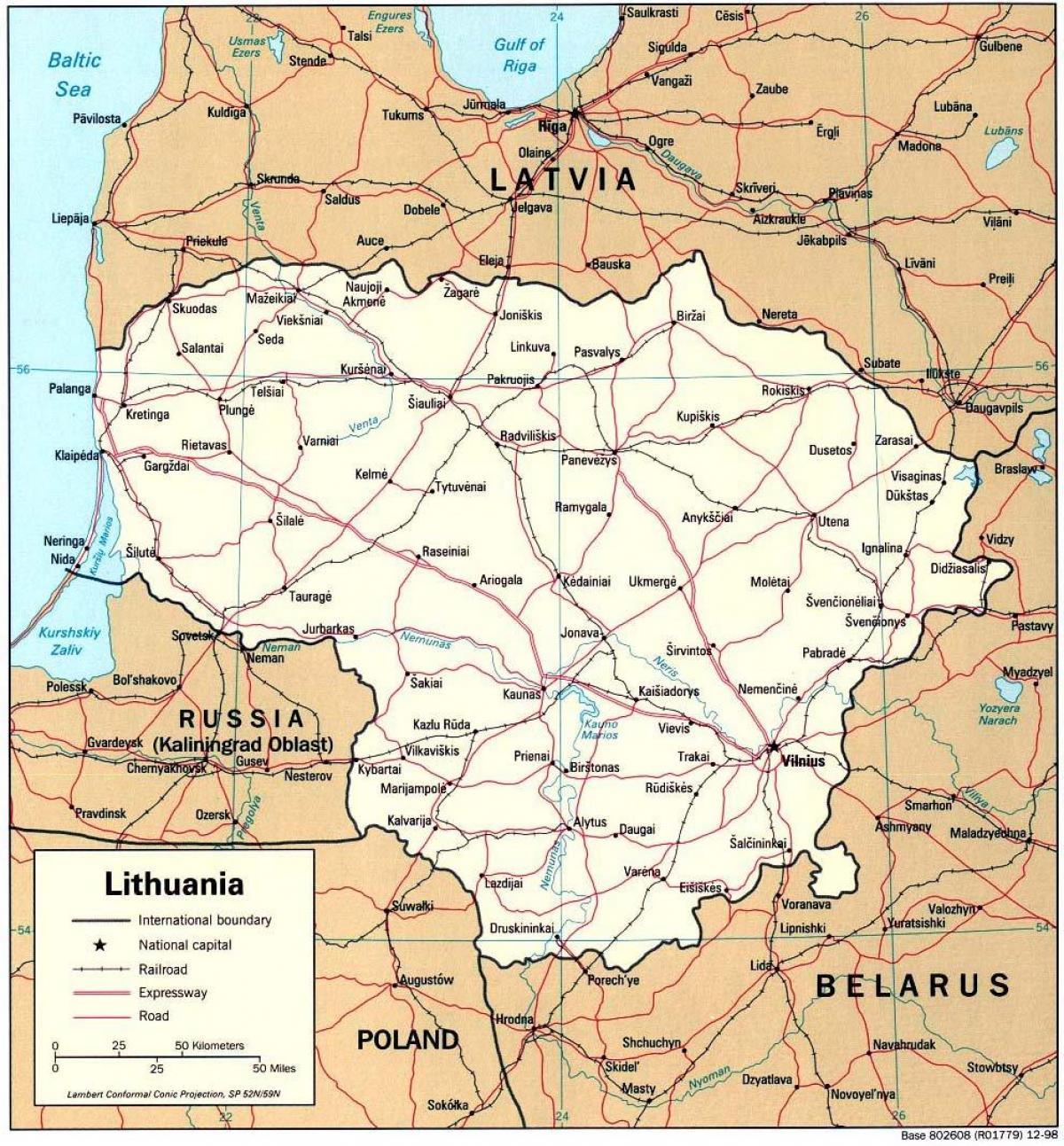 Liettua Kartta Kartan Liettua Pohjois Eurooppa Eurooppa