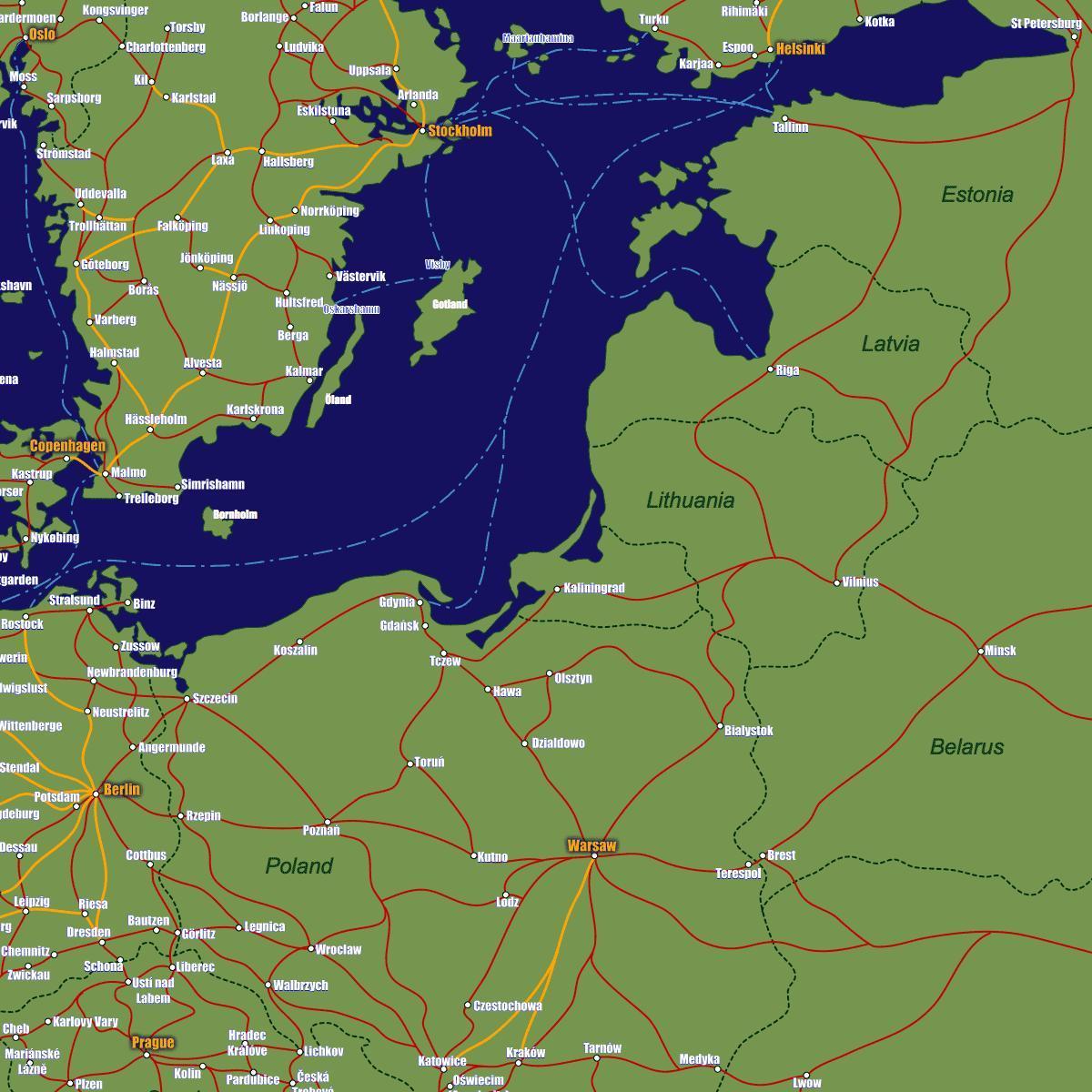 Liettuassa Juna Kartta Kartta Liettuan Juna Pohjois Eurooppa